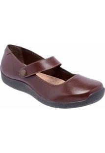 Sapatilha Conforto D&R Shoes Em Couro Feminina - Feminino-Marrom
