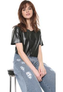 Blusa Cropped Coca-Cola Jeans Resinada Preta