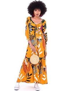Vestido Ticantê Laço Hawaiana Feminino - Feminino-Amarelo