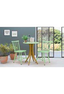 Conjunto Mesa Bistrô Redonda Com 2 Cadeiras Juliette - Amêndoa E Verde Sálvia