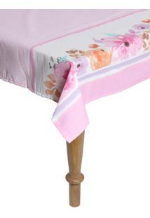 Toalha De Mesa Karsten Dia A Dia Florata Retangular Rosa