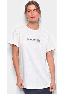 Camiseta Colcci Linho Consciência Feminina - Feminino-Branco