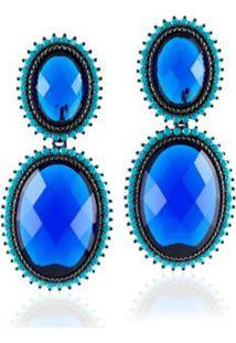 Brinco Giullia Ferraz Store Giullia Ferraz Store Oval Feminina - Feminino-Azul Turquesa+Azul