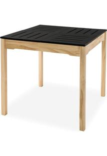 Mesa De Jantar Compacta De Madeira Maciça Taeda Natural Com Tampo Colorido Olga – Verniz Natural/Preto 80X80X75Cm