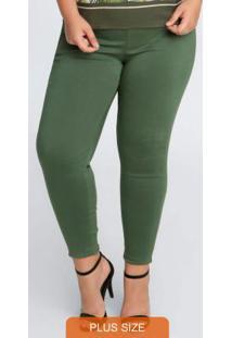 Calça Plus Size Skinny Em Bengaline Verde