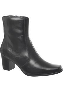 Ankle Boot Em Couro Preto Tamanho Especial