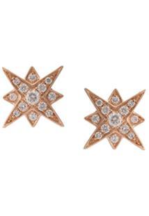 Marchesa Par De Brincos De Ouro Rosa 18K Com Diamante - Dourado