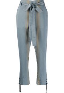 Ann Demeulemeester Calça Cropped Listrada - Azul