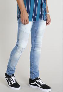 Calça Jeans Masculina Skinny Com Recortes Azul Claro