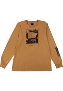 Camiseta Manga Longa Estampada Marrom
