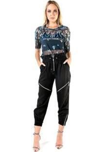 Blusa Caos Tule Silk Modern Fashion Transfer Feminina - Feminino-Azul