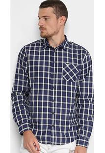 Camisa Triton Xadrez Comfort Masculino - Masculino-Azul+Branco