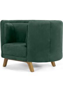 Poltrona Decorativa Para Sala De Estar Base De Madeira Ferrara Veludo Verde - Gran Belo