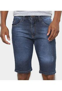 Bermuda Jeans Hd Slim Conf - Masculina - Masculino-Azul+Preto
