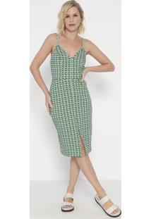 Vestido Mídi Abstrato- Verde & Off White- Colccicolcci
