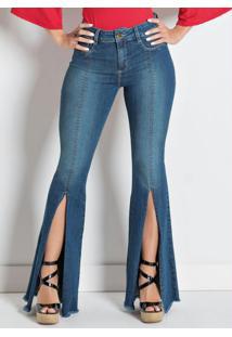 Calça Sawary Flare Com Fenda Frontal Jeans