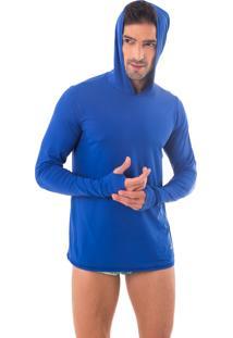 Camisa Uv Action Proteção Solar Com Capuz E Luva Azul