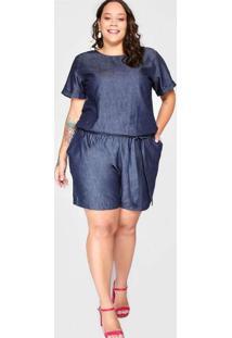 Macaquinho Almaria Plus Size Blubetty Jeans Azul
