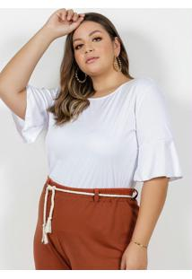 Blusa Branca Com Argola Nas Costas Plus Size