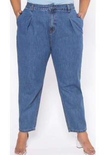 Calça Almaria Plus Size Izzat Jeans Slouchy Azul