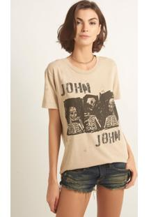 Camiseta John John Gang Skull Malha Bege Feminina (Bege Claro, Gg)