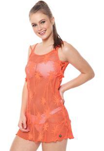 Vestido Alto Giro Curto Rendado Laços Neon Laranja