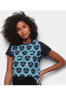 Camiseta Cyclone Baby Look Hexagon Feminina - Feminino-Preto