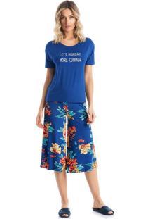 Pijama Turmalina Pantacourt - P357 Azul Uniforme/P