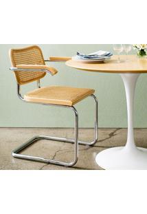 Cadeira Cesca (Com Braço) Tonalizada Castanho Opção De Madeira