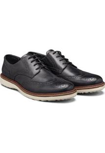 Sapato Casual Couro Élie Brogue Oxford Masculino - Masculino-Preto