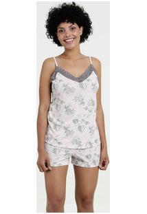 Pijama Feminino Short Doll Estampa Flores Marisa