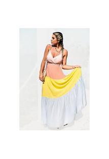 Vestido Longo Camadas Atelier Lily Daisy Ld100C Colorido