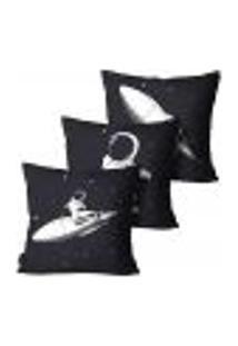Kit Com 3 Capas Para Almofada Inf Astronauta Preto 55X55Cm