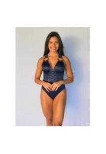 Maiô Sônia Liso Azul Marinho -