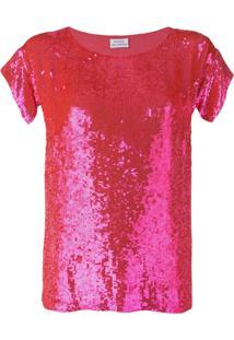 P.A.R.O.S.H. Blusa Com Paetê - Rosa