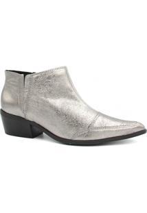 Bota Zariff Shoes Ankle Boot Couro Feminina - Feminino-Prata