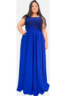 Vestido Longo Tnm Collection Madrinha Festa Plus Size Com Renda Azul Royal