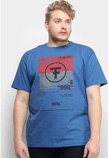 Camiseta Fatal Lo-Fi 998 Plus Size Masculina - Masculino-Azul Claro