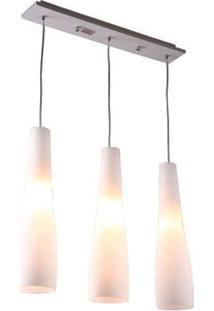 Pendente De Vidro E Alumínio Para 3 Lâmpadas E27 Triplo Alongado Reto Branco Ol