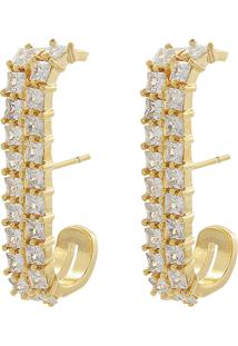 Brinco Narcizza Semijoias Ear Hook Com Micro Zircônia Cristal Ouro