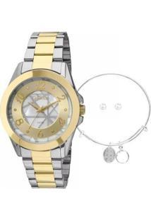 Kit Relógio Condor Co2036Cu/K5C + Pulseira E Brincos Feminino - Feminino-Dourado