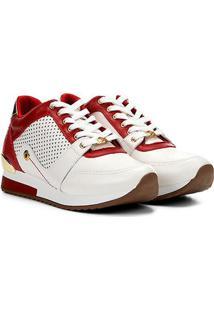 Tênis Couro Jorge Bischoff Jogging Perfuros Croco Metalizado Feminino - Feminino-Branco+Vermelho