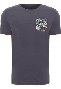 Camiseta Masculina Bolso Floral - Cinza