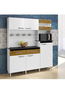 Armário De Cozinha 6 Portas 2 Gavetas Arte Móveis Branco/Ipê