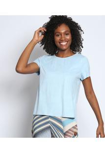 Camiseta Alongada Em Suede- Azul Clarotvz