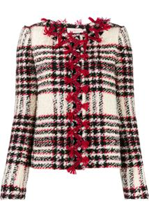 Tory Burch Embroidered Crystal Buttons Tweed Jacket - Branco
