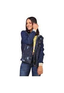 Jaqueta Jeans Retrato Falado Com Capuz Azul