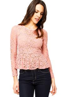 aef784162 ... Blusa Manga Longa Colcci Transparente Rosa