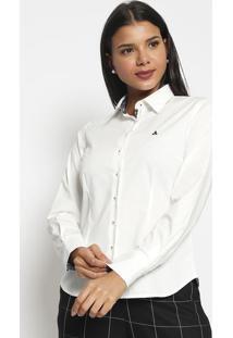 Camisa Com Bordado- Branca & Azul Marinho- Vip Reservip Reserva
