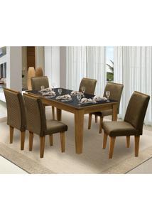 Mesa Para Sala De Jantar Saint Michel Com 6 Cadeiras – Dobuê Movelaria - Mell / Preto / Cacau
